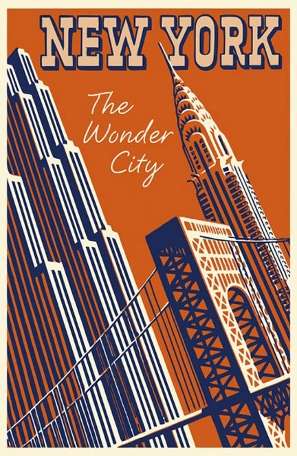 ADVERTISING ART PRINT New York The Wonder City Vintage